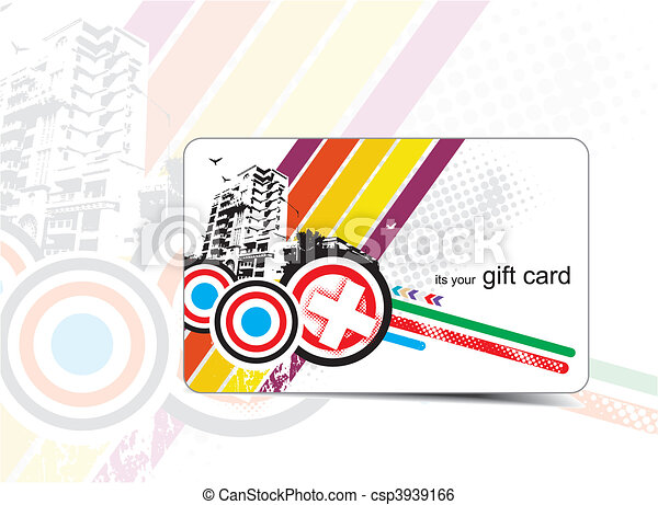 beautiful gift card with urban concept vector illustration rh canstockphoto co uk gift card clipart black and white visa gift card clipart