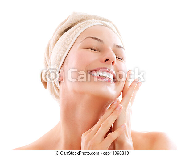 Beautiful Girl After Bath Touching Her Face. Skincare  - csp11096310