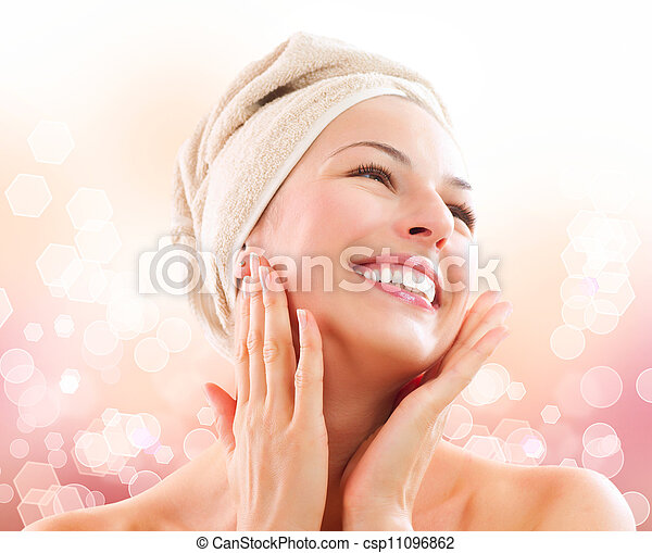 Beautiful Girl After Bath Touching Her Face. Skincare  - csp11096862