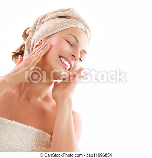 Beautiful Girl After Bath Touching Her Face. Skincare - csp11096854
