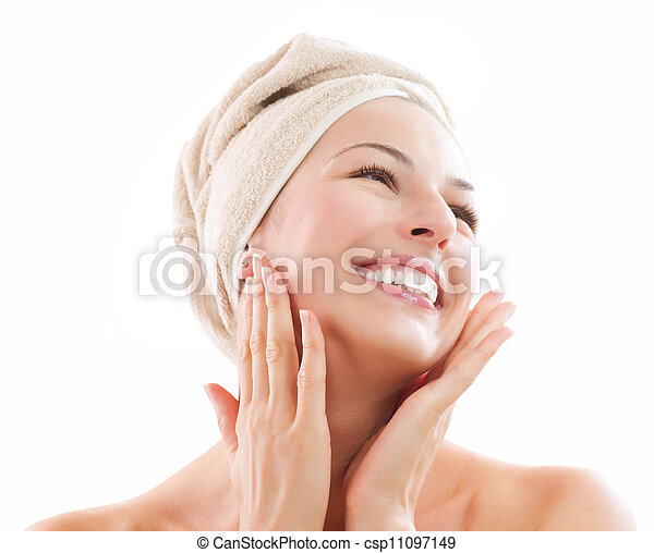 Beautiful Girl After Bath Touching Her Face. Skincare  - csp11097149