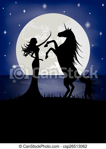 beautiful girl and unicorn - csp26513062