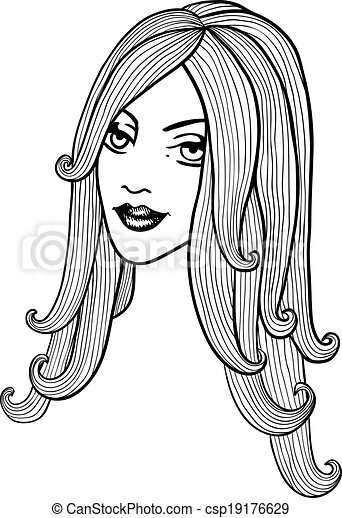 beautiful girl black and white vector outline