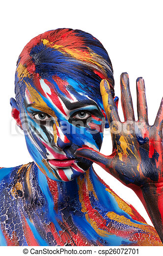 Beautiful Girl Creative Body Art Creative Fashion Beautiful Color Saturated Bright Body Art Body Painting Lines Colorful