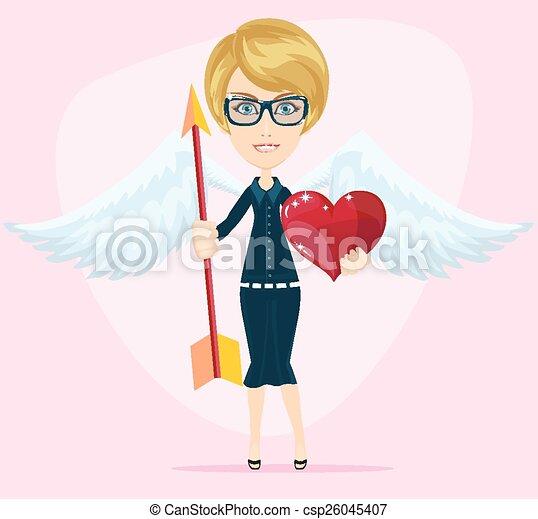 Beautiful girl cupid, vector  - csp26045407