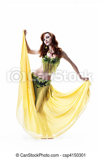 beautiful girl dances east dance isolated on a white background - csp4150301