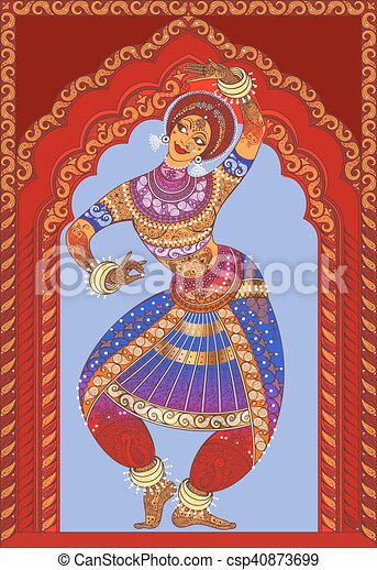 Beautiful Girl Dancing Indian Classical Dance Indian Girl Dancing On The Background Ornamented Arches