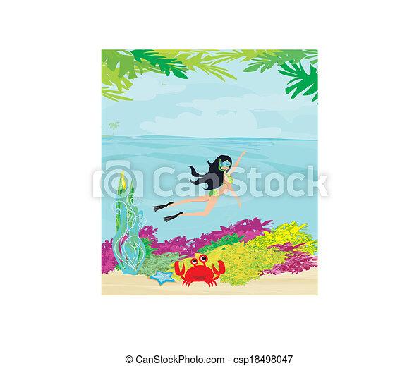 beautiful girl dives - csp18498047