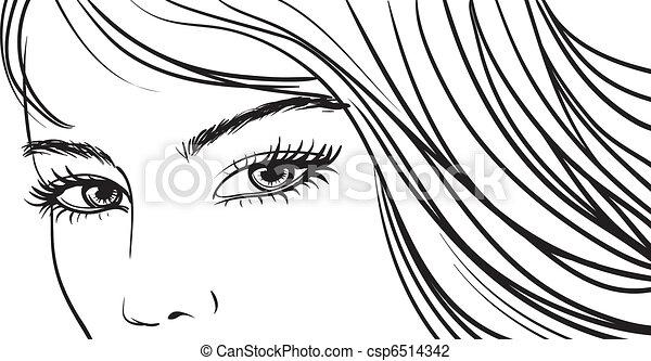 Beautiful girl eyes and light long hair.