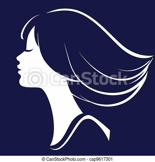 Beautiful Girl Face Silhouette, Vector illustration  - csp9617301