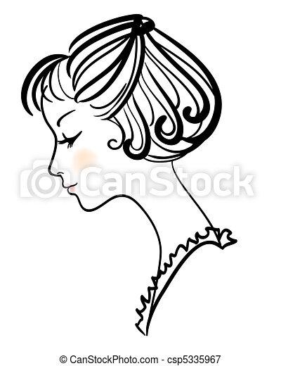 beautiful girl face vector illustration - csp5335967