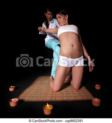 Beautiful  girl having thai massage. - csp8652391