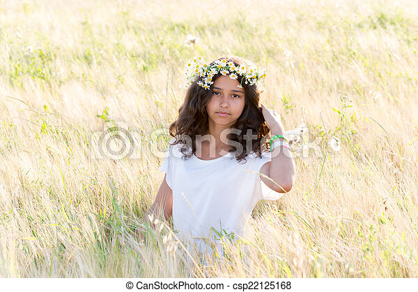 Beautiful girl in a field on  summer day - csp22125168