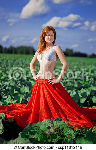 Beautiful girl in a field - csp11812119