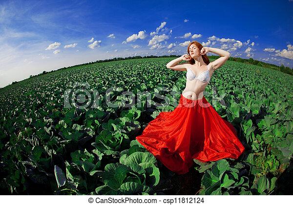 Beautiful girl in a field - csp11812124