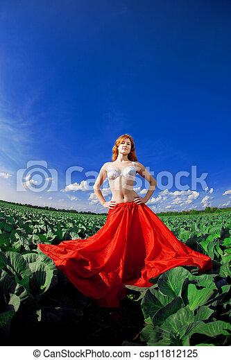 Beautiful girl in a field - csp11812125