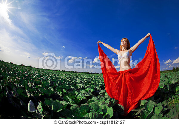 Beautiful girl in a field - csp11812127
