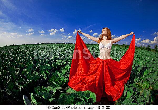 Beautiful girl in a field - csp11812130