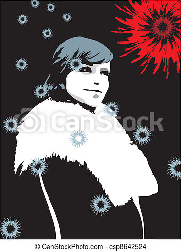 beautiful girl in a fur coat with falling snowflakes on an abstr - csp8642524