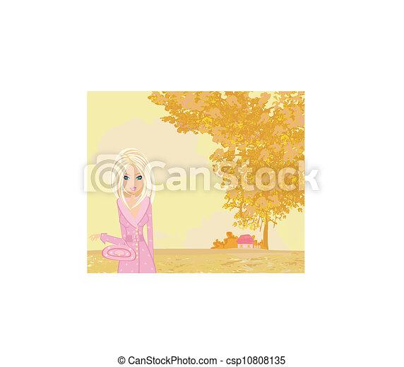 beautiful girl in autumn park - csp10808135