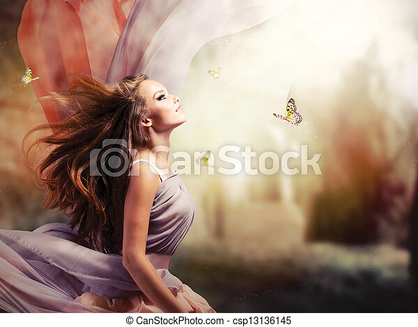 Beautiful Girl in Fantasy Mystical and Magical Spring Garden  - csp13136145