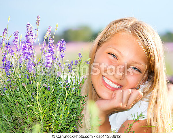 Beautiful Girl in Lavender Field  - csp11353612