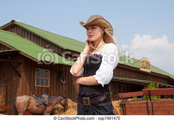 beautiful girl in style of the country - csp7491470