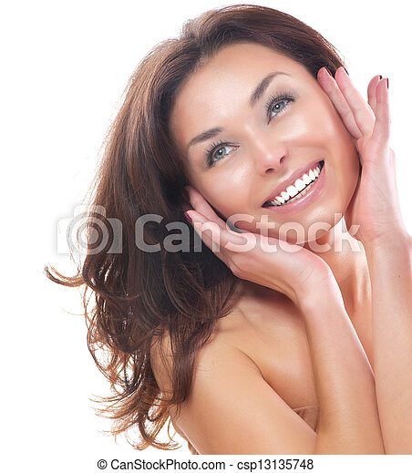 Beautiful Girl Isolated on a White Background. Perfect Skin  - csp13135748