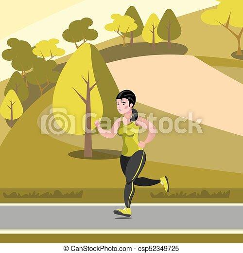 Beautiful girl jogging in the park - csp52349725