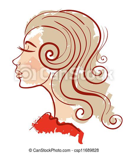 Beautiful girl linear silhouette  - csp11689828