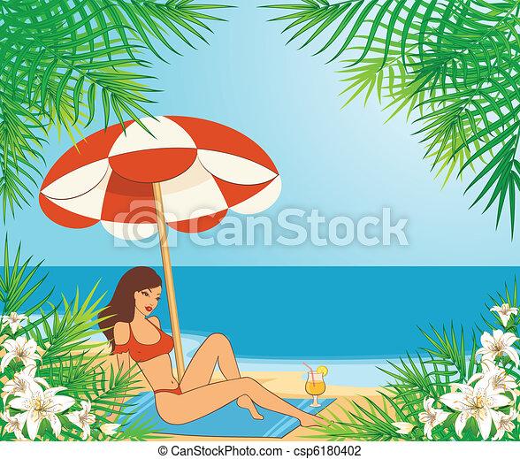 Beautiful girl on a summer beach - csp6180402