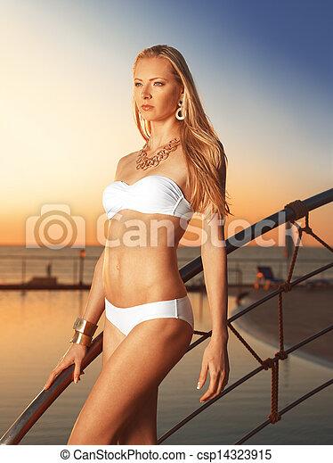 Beautiful girl on the bridge - csp14323915
