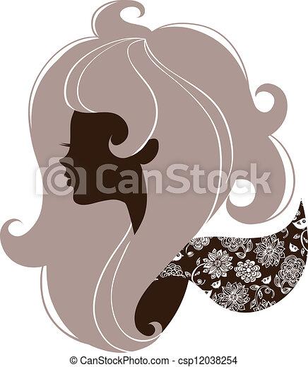 Beautiful girl silhouette  - csp12038254