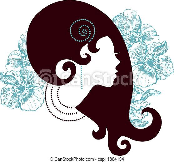 Beautiful girl silhouette  - csp11864134