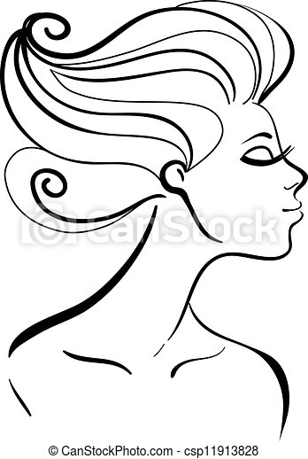 Beautiful girl silhouette - csp11913828