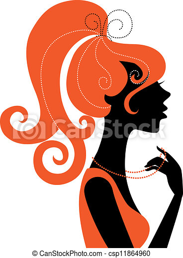 Beautiful girl silhouette profile  - csp11864960