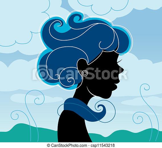 Beautiful girl silhouette  - csp11543218
