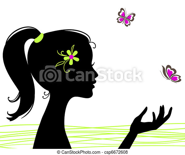 beautiful girl silhouette with butterfly - csp6672608
