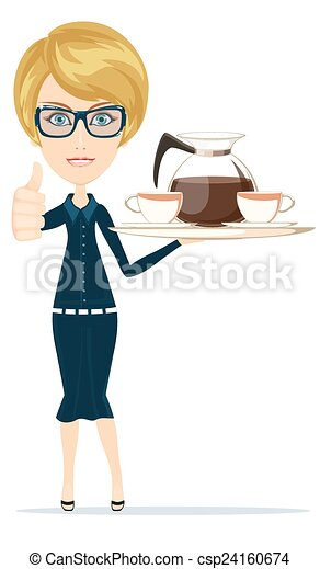 Beautiful Girl Waitress Carries giving the thumbs up with a big Tray Ordered Drinks, Coffee, Tea. - csp24160674