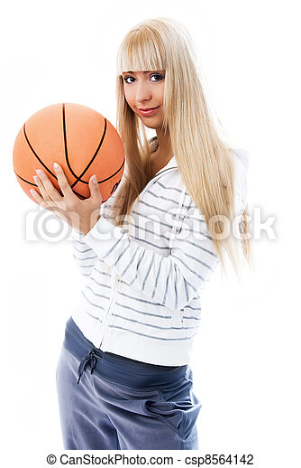 beautiful girl with a  ball - csp8564142