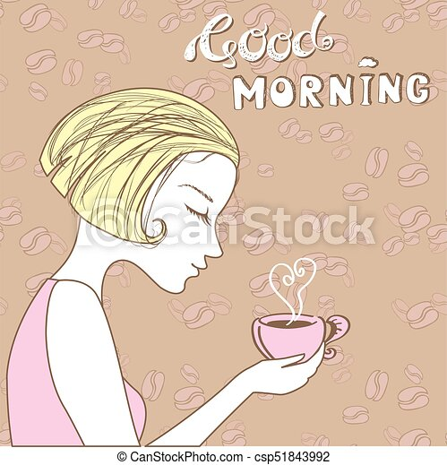beautiful girl with a cup of coffee, good morning - csp51843992