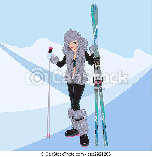 Beautiful girl with alpine skiing - csp2921286