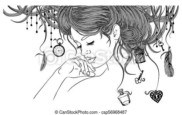 Beautiful girl with an unusual hairdo - csp56968487