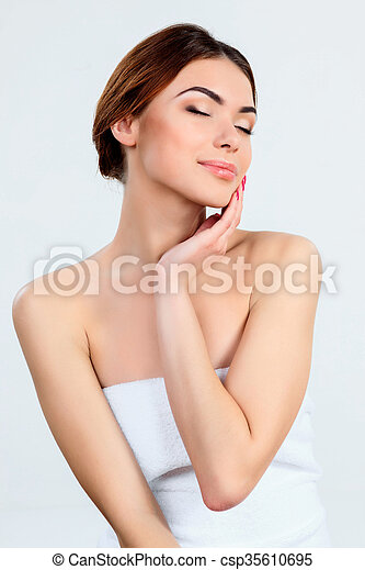 Beautiful girl with beautiful makeup, youth and skin care concept - csp35610695