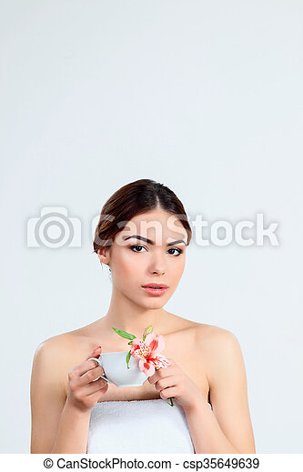 Beautiful girl with beautiful makeup, youth and skin care concept - csp35649639