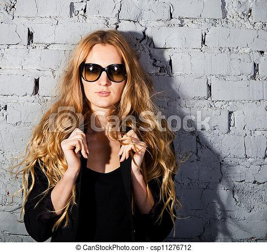 beautiful girl with big black glasses - csp11276712
