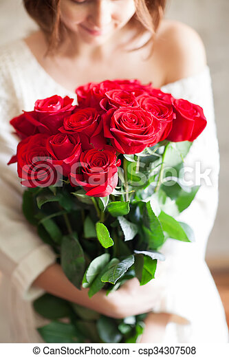 Beautiful Girl With Big Red Roses Bouquet Beautiful Young Girl
