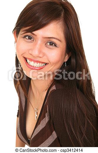 Beautiful Girl With Big Smile - csp3412414