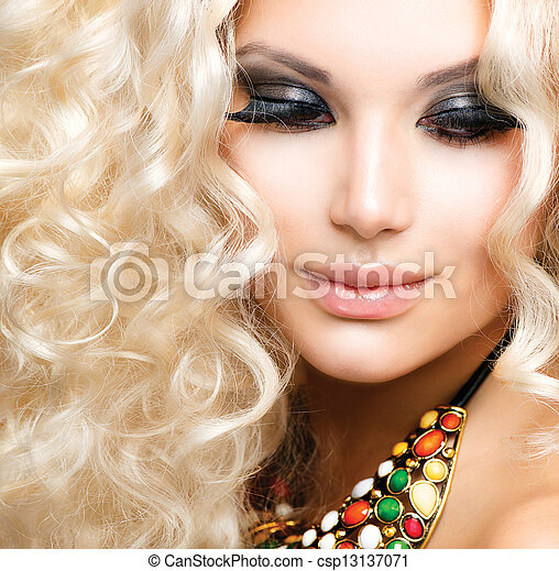 Beautiful Girl with Curly Blond Hair  - csp13137071
