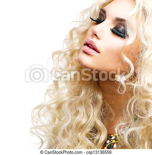 Beautiful Girl with Curly Blond Hair isolated on White - csp13136559